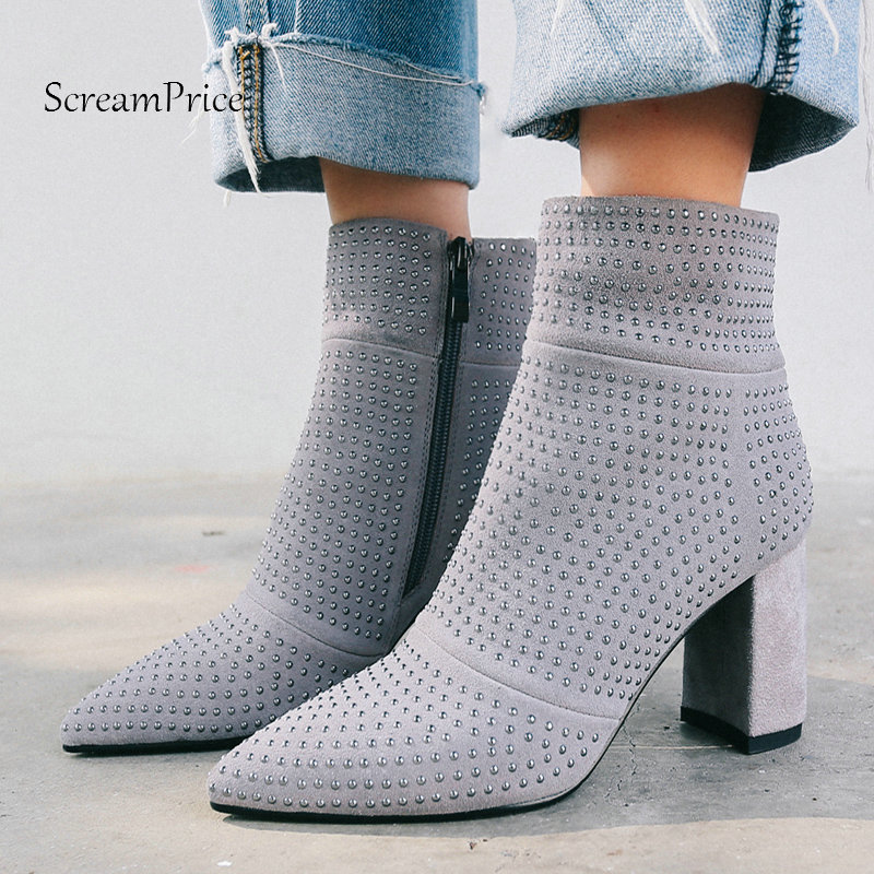 Winter Suede Sqaure High Heel Side Zipper Woman Ankle Boots Fashion Pointed Toe Dress Crtstal Boots Woman Black Gray winter platform square high heel ankle fashion boots bling side zipper round toe shoes woman gray red black