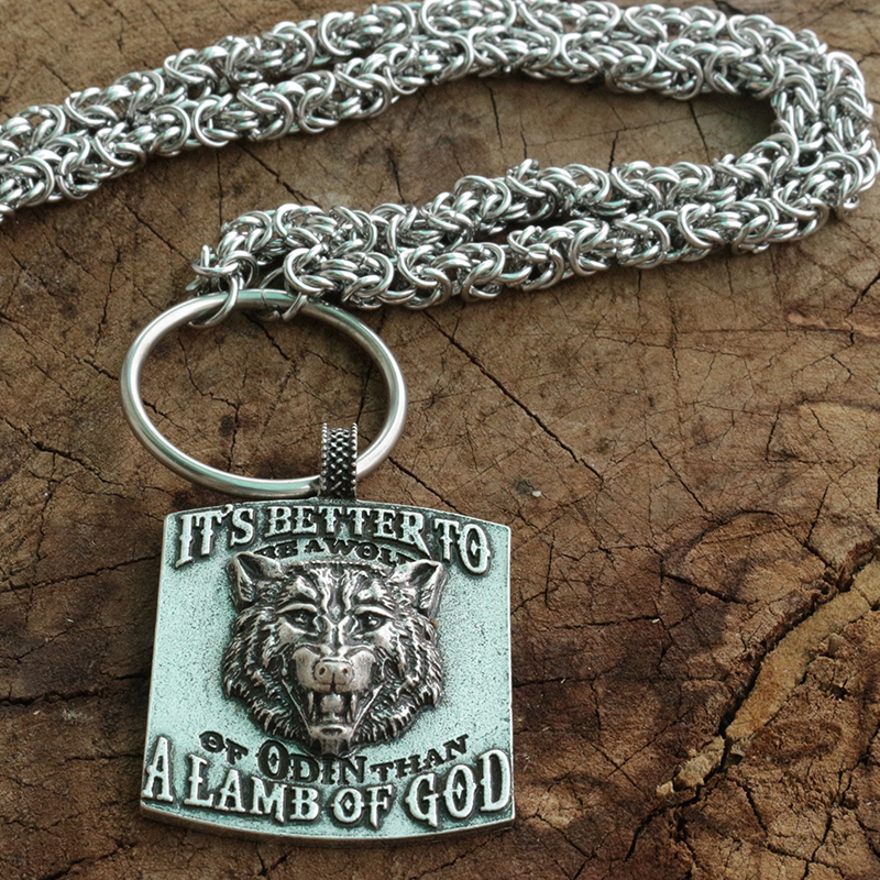 viking pendant wolf talisman Ancient silver men neckalce with stainless steel chain odin god jewelry norse wolf head pendant