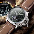 Бесплатная доставка Megir 3206 Световой Механические Часы Мужчины Подлинной Нубука Кожаный Ремешок Водонепроницаемые Наручные Часы Аналоговый Дисплей часы
