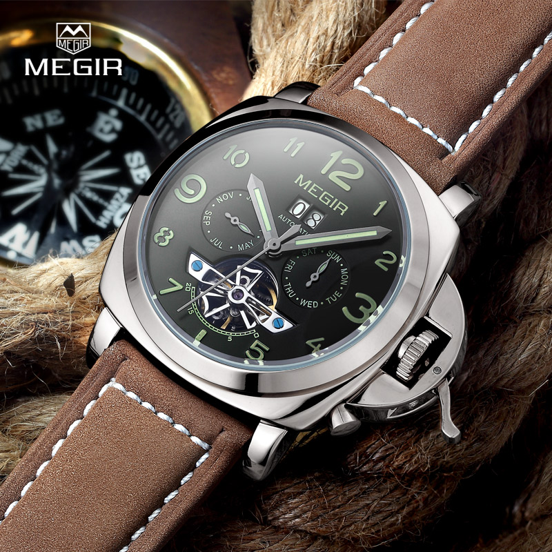 Free shipping Megir 3206 Luminous Mechanical Watch Men Genuine Nubuck Leather Strap Waterproof Wristwatch Analog Display