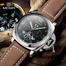 Envío libre Megir 3206 Luminoso Reloj Mecánico Hombres Nobuck Correa de Cuero Genuino Impermeable Reloj de Pulsera Pantalla Analógica relojes
