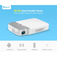 RD 605+A Mini Projector WiFi Bluetooth 4,0 3D LED 2500 Lumens Optional Android Black