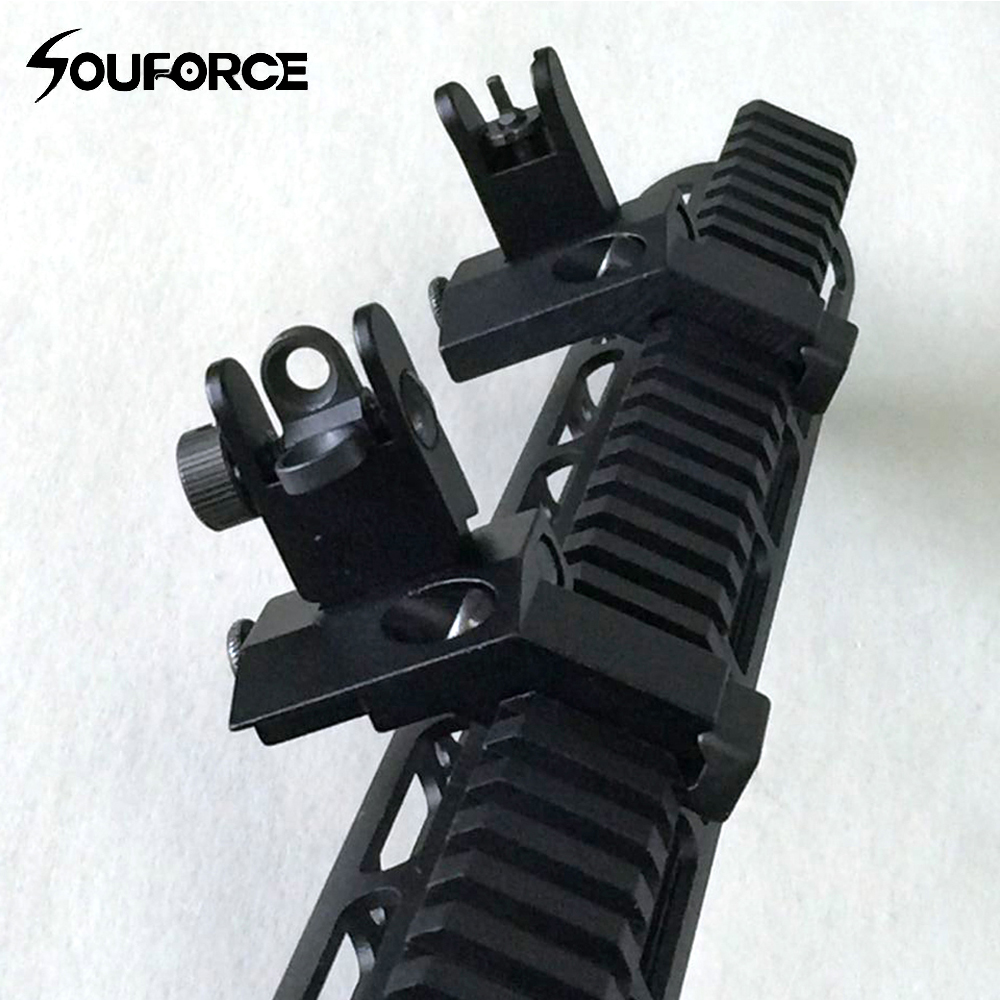 1 par US Tactical BUIS Fram och baksidan Sikt Flip Up 45 Degree Rapid Transition Iron Sights of Jakt Gun Tillbehör