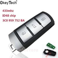 OkeyTech trọng tự động Từ Xa 433 mhz cho vw Volkswagen MAGOTAN 3 nút Fob 3C0959752BA với id 48 con chip 3C0 959 752 BA ID48 chìa khóa xe