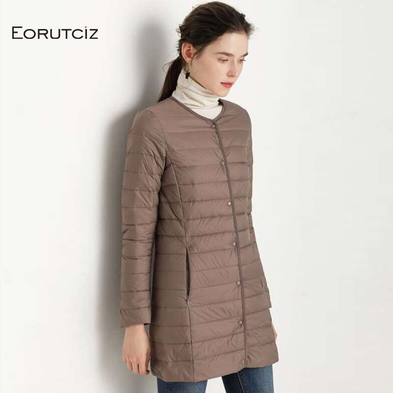 EORUTCIZ Winter Ultra Light   Down     Coat   Women Plus Size 4XL Long Jacket Slim Basic Vintage Black Autumn Duck   Down     Coat   LM356