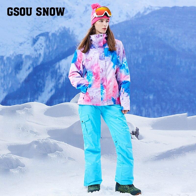 Gsou Snow 2017 nouvelle combinaison de ski, combinaison de ski pour femme, sangles de pantalon de ski chaud épaississant