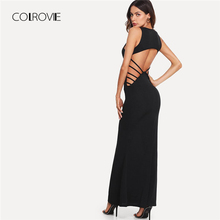 COLROVIE Black Strappy Open Back Fishtail Maxi Dress 2018 Party Dress  Sleeveless 07da913d96d0