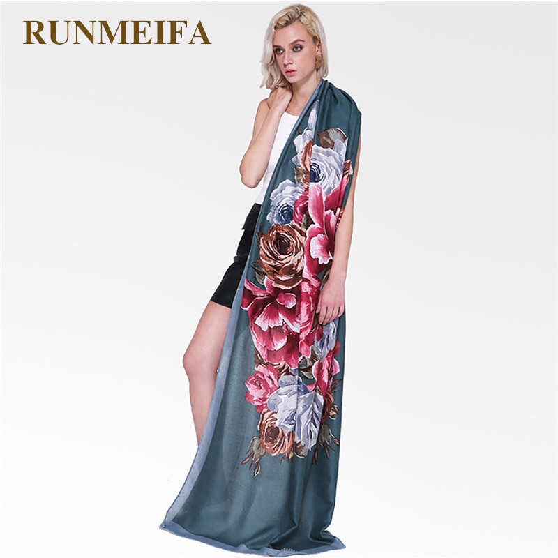 RUNMEIFA New Fashion Women Big Flowers Scarf Soft Beach Shawls Autumn Summer Spring Foulard Femme Lady Elegant Shawl Plus Size