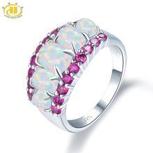 875a1f60b8c0 HUTANG Natural ópalo y Rhodolite granate anillo de compromiso sólido 925  Sterling Silver Gemstone bellas moda joyería de piedra .