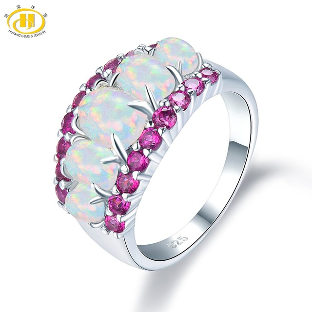 HUTANG Natural Opal and Rhodolite Garnet Engagement Ring Solid 925 Sterling Silver Gemstone Fine Fashion Stone Jewelry For Gift