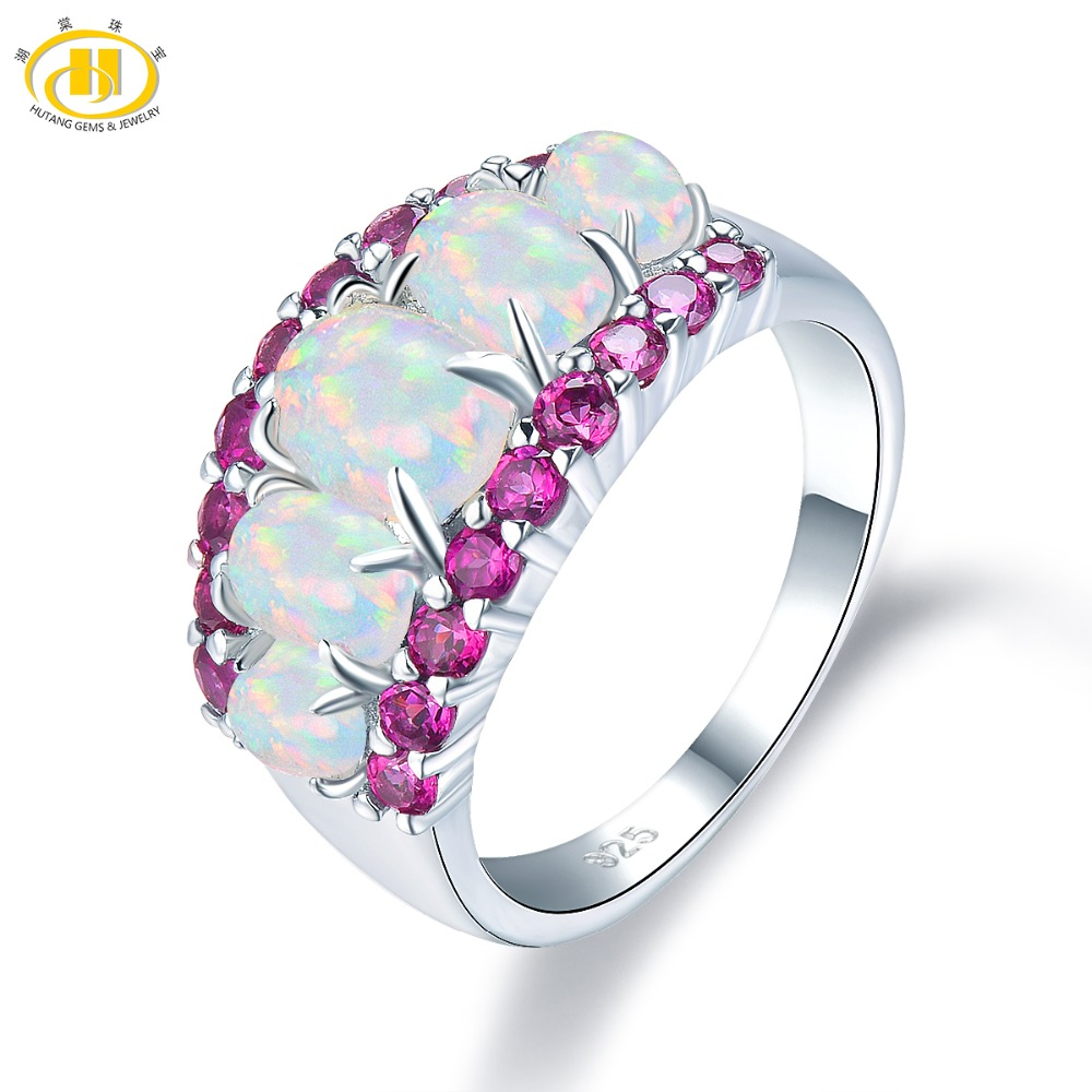 HUTANG Opal Ring, 925 Silver Rings with stone, Gemstone Opal Rhodolite Garnet Fine Jewelry for Women, Gift for Christmas