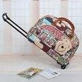 Bolso de la carretilla bolsa de viaje impermeable de gran capacidad de bolsa de viaje PU bolsa de viaje portátil equipaje