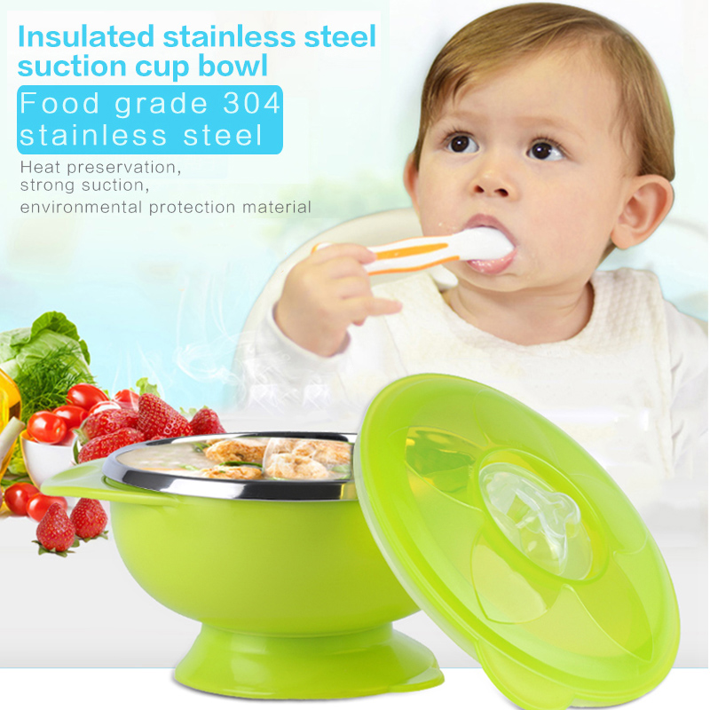 High Quality Baby Bowl Infant Stainless Steel Suction Cup Bowl Slip  Resistant Temperature Sensing Feeding Tableware