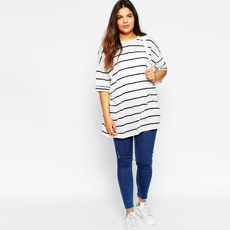 5e5e9317508 Autumn Half Sleeves Ultimate Easy Stripe T shirt Plus Size Basic Soft Cotton  Slouchy Tee Oversize Boyfriend Women Tops 6XL 7XL-in T-Shirts from Women s  ...