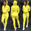 Estilo elegante 2016 de la manga completa larga mamelucos ladies hooded sweat suit sexy mujeres establece 7389