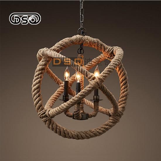 Rope 3 Light Handmade Rustic Nautical Hanging Fixture Orb Wrap Pendant