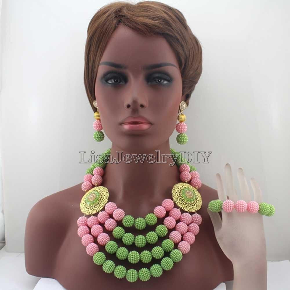 Perles de perles africaines vert pomme/rose ensemble de bijoux de mariée femmes Costume collier ensemble bijoux de mariage nigérian livraison gratuite HD7872