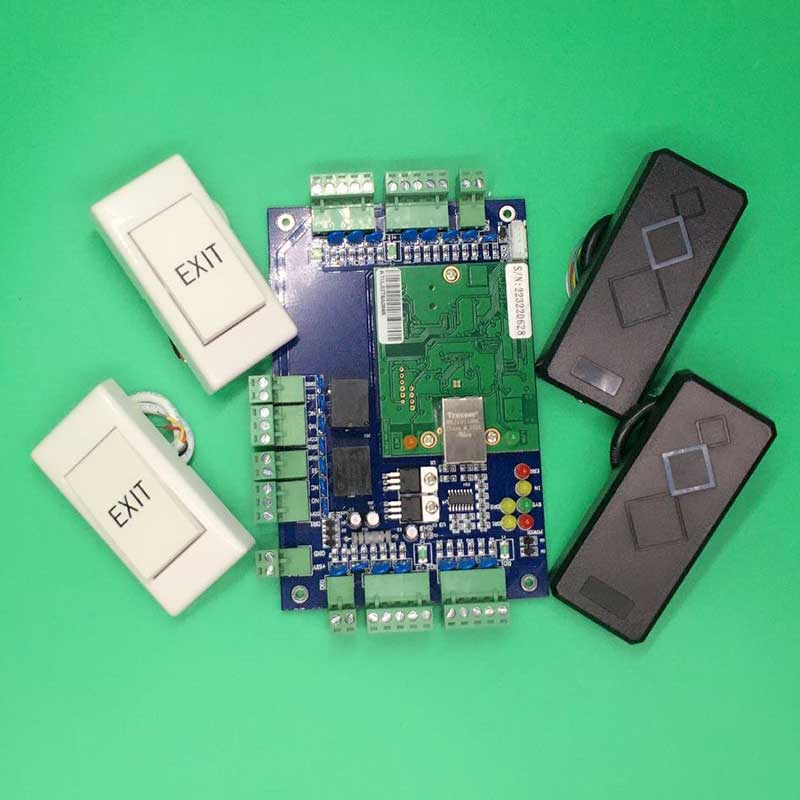 ФОТО TCP/IP Network Access Control Board Panel 125khz Reader Exit Button for Two Door Use