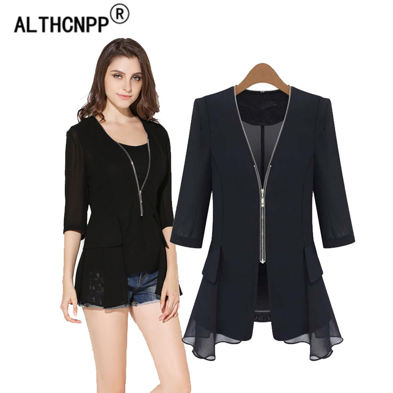 Plus Size Summer Blazer Mujer Black Chiffon Slim Blazers Suit Cardigans Ruffled Women Blazer Casual Jacket