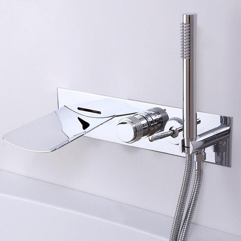 Merveilleux ... Quyanre Wanfan Frap Led Bathtub Faucet Chrome Luxury Wall Mounted Brass  LED Waterfall Tub Filler Faucet ...