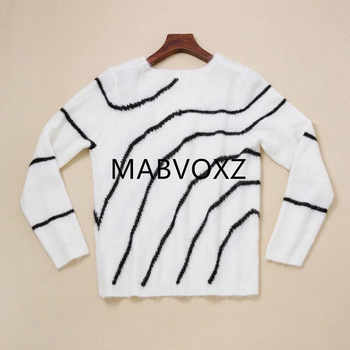 2019 New Women White Striped Sweater Mohair Sweet Knitted Pullover Top - Category 🛒 Women\'s Clothing