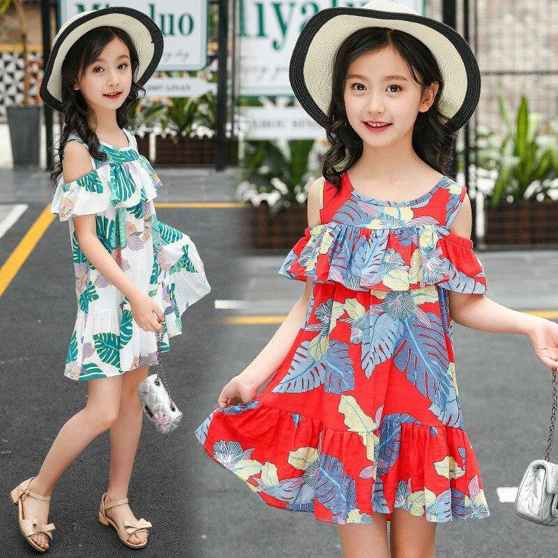64a43f6a06a07 Girls Dress 2019 Summer Sundresses New Fashion Teenage Girls Cloth...
