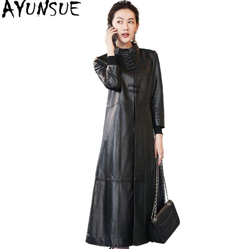 En Femme Peau Automne Chinois 2018 Ayunsue Wyq1739 Mouton Style Long Hiver Manteaux  Femmes Cuir Réel Noir De Vintage Veste ... 816c148aa47