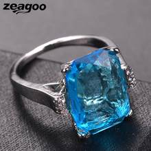 Sky Artificial Square Women Engagement Elegant Ring Wedding Topaz Blue(China)