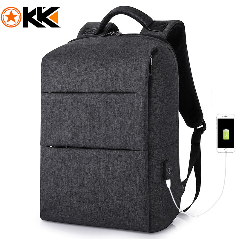 KAKA Casual Men Backpack for Laptop 15 6 Mochila Bookbag Water Resistant USB Charge Backpack Male