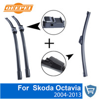 QEEPEI Front and Rear Wiper Blade no Arm For Skoda Octavia 2004 2013 High quality Natural Rubber windscreen 24''+19''
