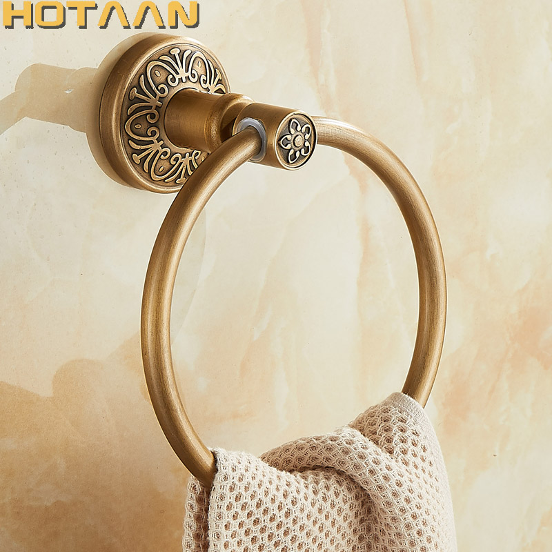 Solid Aluminium Wall-Mounted Round Antique Brass Color Towel Ring New Bathroom Towel Holder Towel Rack For Bathroom Accessories