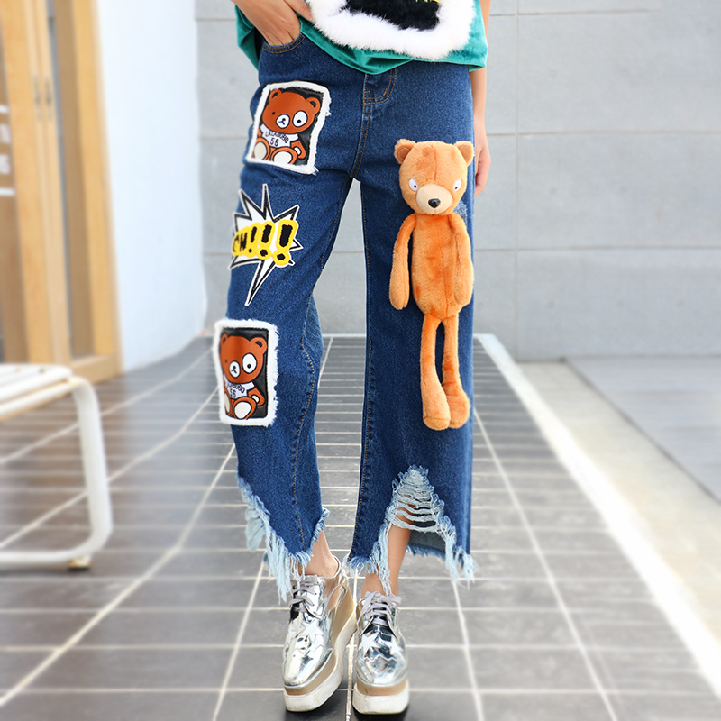 ФОТО 2016 new  winter  women hole bear doll jeans female loose ankle length fashion jeans