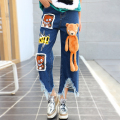 2016 new  winter  women hole bear doll jeans female loose ankle length fashion jeans