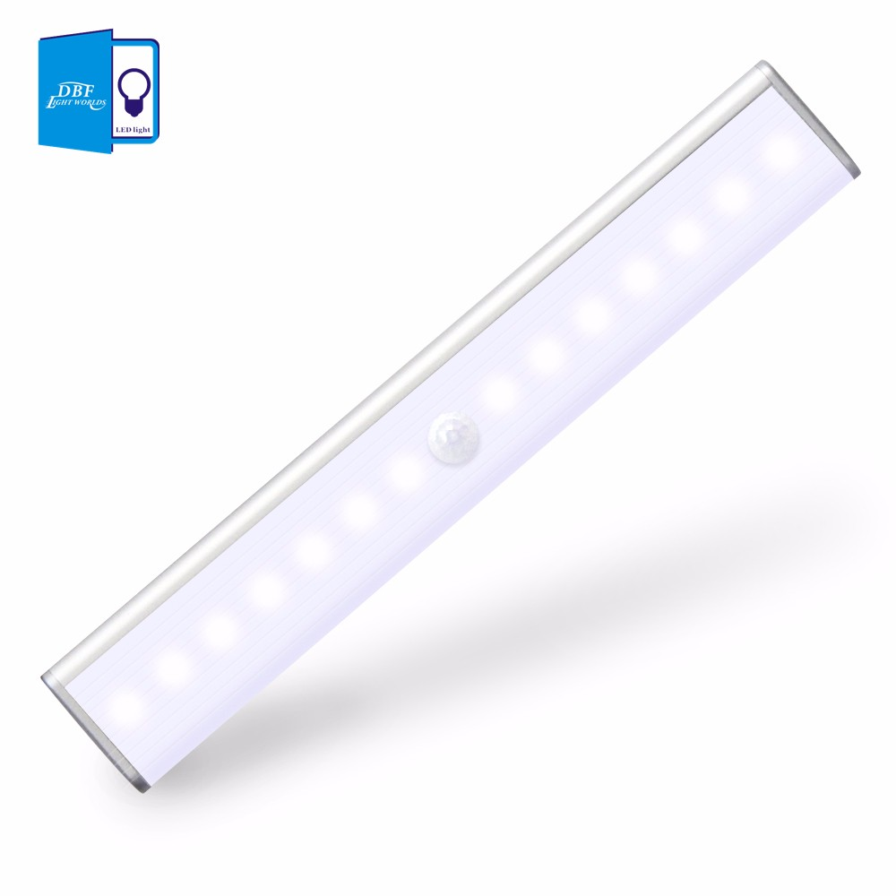 [DBF]14leds Rechargeable PIR Motion Sensor LED Night Light Lamp With For Hallway Pathway Staircase Magnetic Strip Wall Lighting (7)
