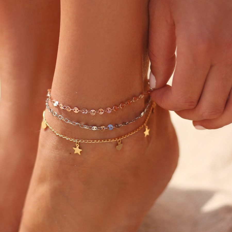 3Pcs/Set Simple Women Anklet Chain Round Heart Star Pendant Gold Anklet Set Fashion Beach Party Jewelry Accessories