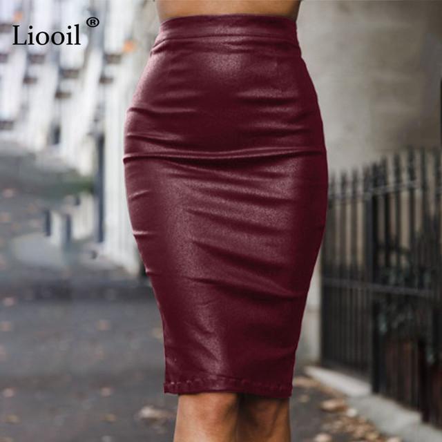 Liooil Women Black PU Leather Skirt Pencil High Waist Autumn Winter Zipper Skinny Sexy Bodycon Midi Office Skirts Womens Warm