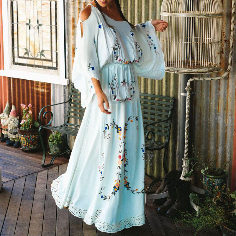 Female Boho Vestidos Flower Multi Embroidery Women Dress Palace style Elegant White Casual Loose Gown Maxi Chic Hippie Dresses outfits para playa mujer 2019