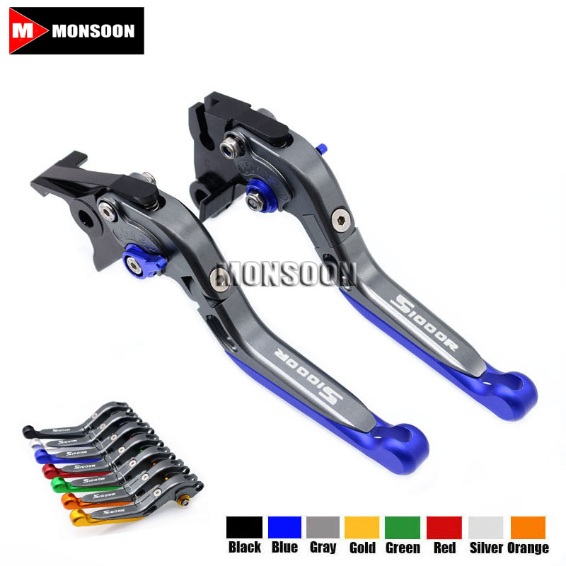 LOGO S1000R For BMW S1000R S1000 R 2015-2016 Motorcycle Accessories Folding Extendable Brake Clutch Levers 8 Colors adjustable folding extendable brake clutch levers for bmw k1300 s r gt k1600 gt gtl k1200r sport r1200gs adventure 8 colors