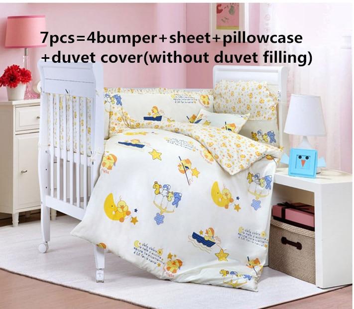 Promotion! 6/7PCS Cartoon Baby Bedding Set Character Bed Around Pillow Sheet Children Bedding Sets  , 120*60/120*70cm