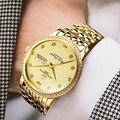 Schweiz Berühmte Marke Top Herren Uhren Luxus Gold Strass Uhr Automatische Mechanische Goldene Stahl Männer Uhr Saphir-in Mechanische Uhren aus Uhren bei