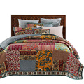American Patchwork Bedspread Quilt Set 3pcs Vintage Quilted bedding Handmade Quilts Bed Covers King Queen Full Size Coverlet