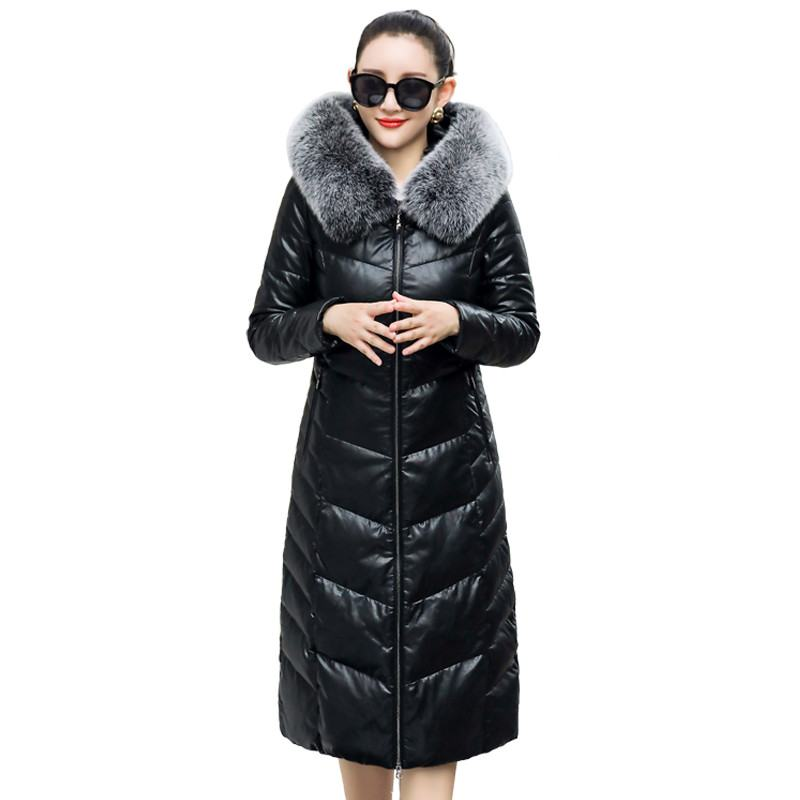 Invierno Con Capucha Lana Ropa Cuero Genuino gris Negro Piel Las Size5xl  Real X124 2019 Mujeres Se jiaotang Chaqueta Cremallera De Abrigo Más Collar  ... 5cad2f260683