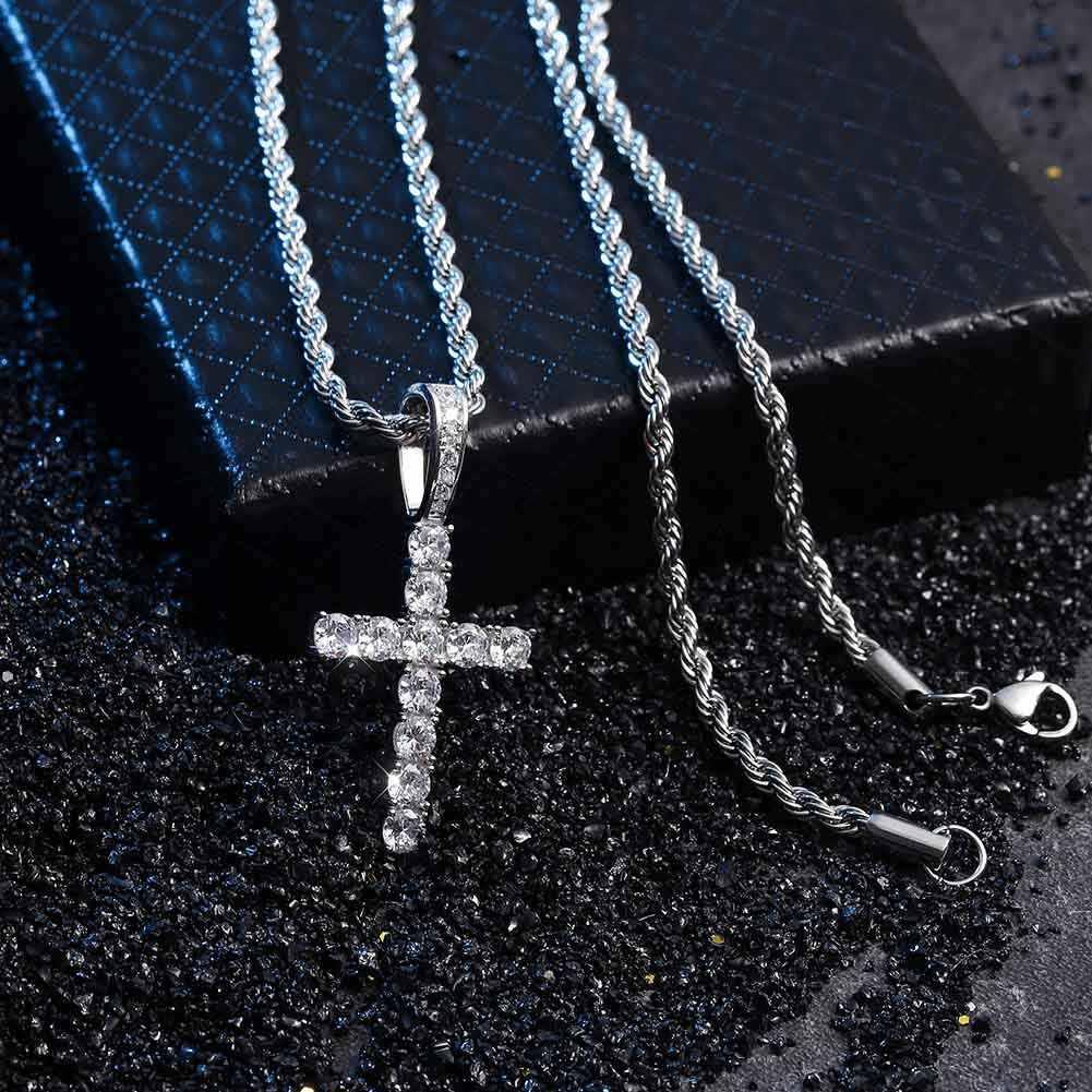 JINAO nouveau 925 argent Sterling Pico Harvey croix pendentif collier Micro Pave AAA + cubique zircone pierres pour cadeau Hip Hop bijoux