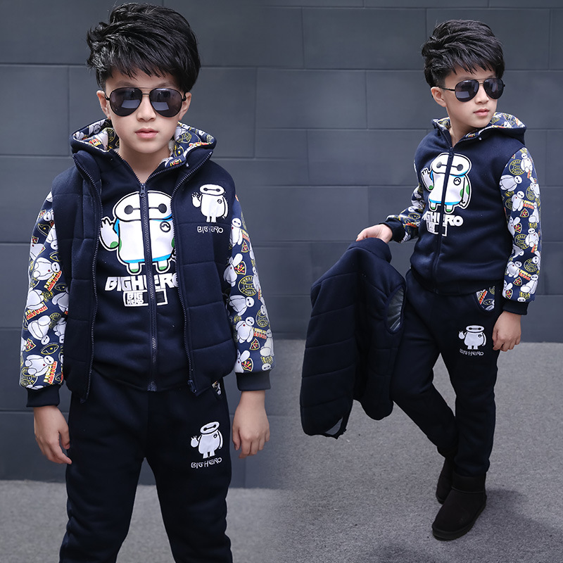2018 Winter Baymax Kids Clothes 3 Sets Boys Clothes With Velvet Sports Suit Male Children Clothing Baby Boy Christmas Costumes цена