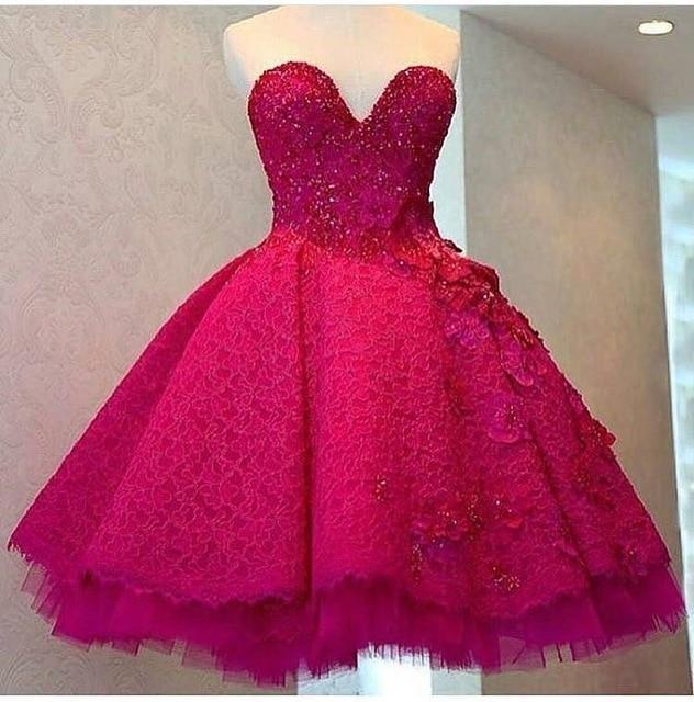 2017 Fushcia Sweetheart A-Line Short Evening   dresses   Plus Size Sleeveless Knee-Length   Prom     Dress   Vestido de noche Robe de soiree