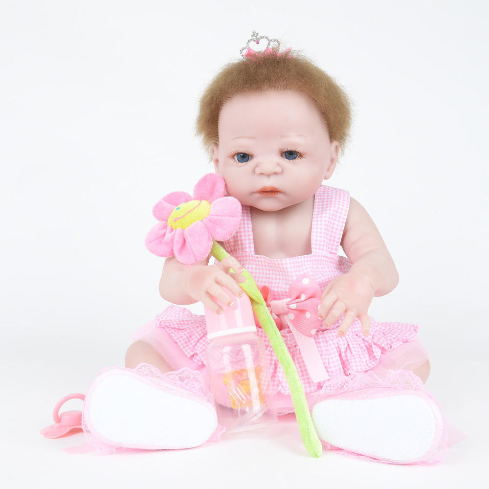 22 Inch Soft Full Silicone Vinyl Reborn Baby Doll Lovely Girl Dolls for Children Kids Toy Birthday Xmas New Year Gift 22 inch soft full silicone vinyl reborn baby doll lovely sleeping girl dolls for children kids toy birthday xmas new year gift