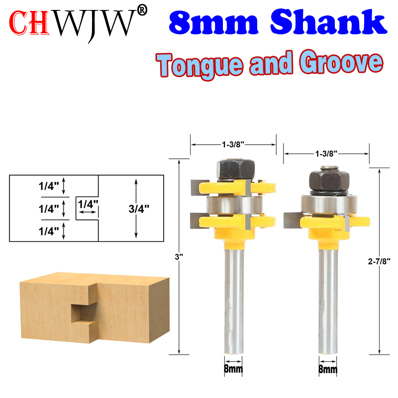 2pc8mm Shank High Quality Tongue & Groove Joint Assembly Router Bit Set 3/4