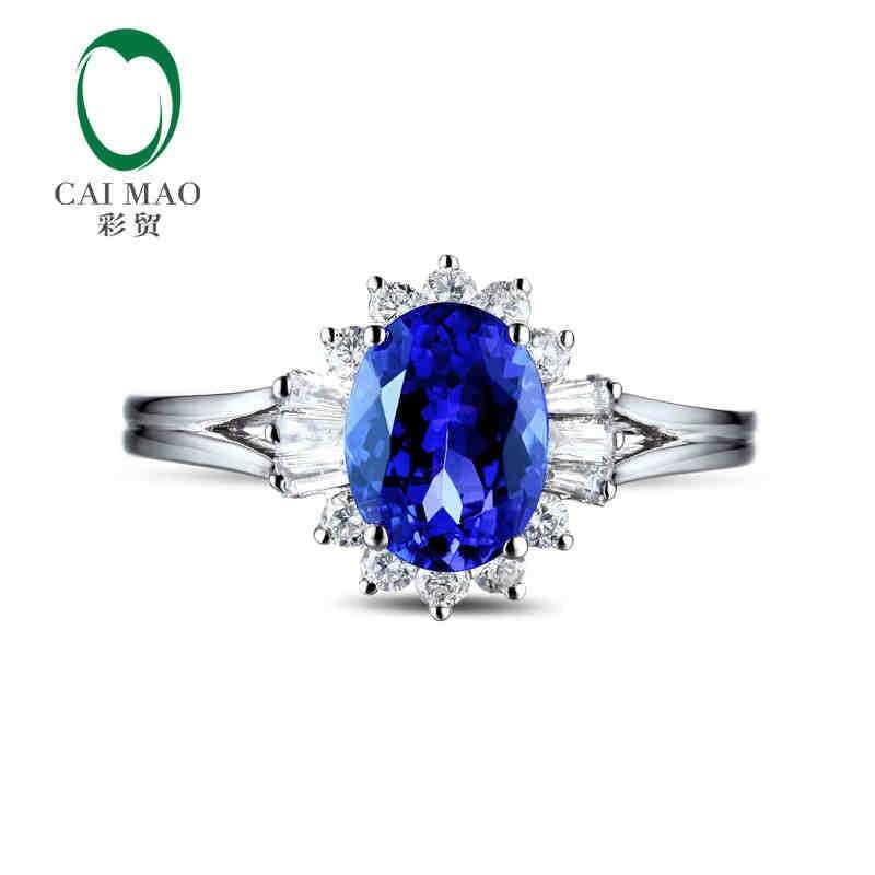 CaiMao 18KT/750 Белое золото 1,53 ct натуральный если Синий танзанит AAA 0,45 ct Полный огранки обручение Драгоценное кольцо ювелирные изделия