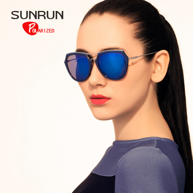 SUNRUN Polarizada Mulheres Óculos De Sol TR90 óculos de Design De Metal Óculos de Sol Do Vintage UV400 gafas de sol oculos TR6033