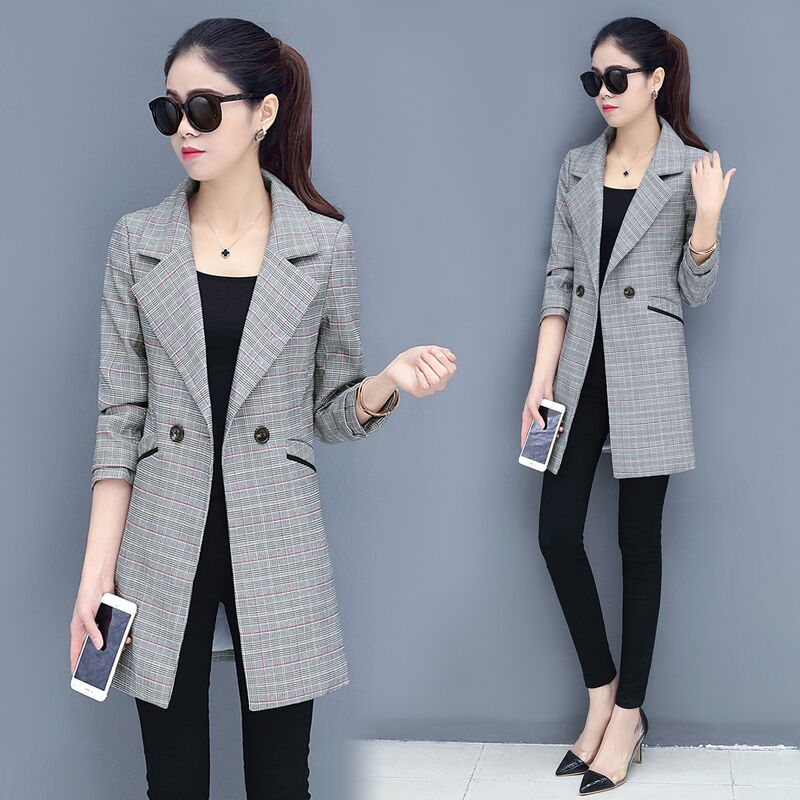 New New 2018 Plaid Blazer Formal Suits For Women Fashion Designer Blazer Female Long Sleeve Jacket Slim Overcoat Feminino In Blazers From Women S Clothing Accessories Peryferia Komputerowe